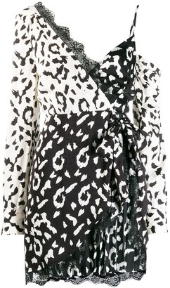 Self-Portrait Animal Print Wrap Dress