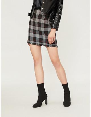 Pinko Silvio checked woven mini skirt