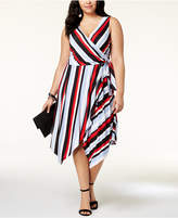 INC International Concepts I.N.C. Plus Size Striped Wrap Dress, Created for Macy's