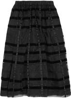 Comme des Garcons Striped Velvet And Organza Midi Skirt - Black