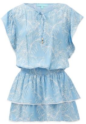 Melissa Odabash Keri Tiered Leaf-print Crepe Mini Dress - Blue Print