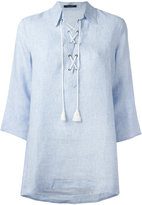 Roberto Collina neck-tie blouse - women - Linen/Flax - M