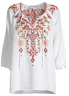 Johnny Was Women's Kippa Embroidered Peasant Blouse