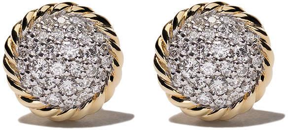 David Yurman 18kt yellow gold Petite Pavé diamond stud earrings