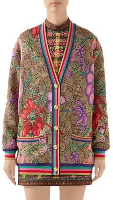 Gucci GG Flora Oversized Wool Cardigan