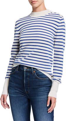 Equipment Clodee Striped Button Shoulder Cashmere Sweater