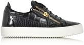 Giuseppe Zanotti Black Embossed Croco Leather Low Top Sneaker