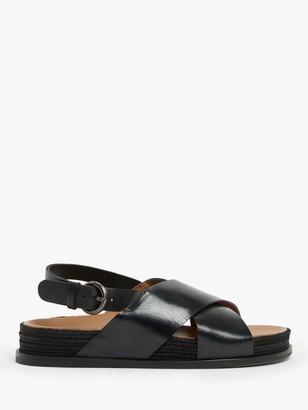 KIN Lillian Leather Cross Strap Slingback Sandals