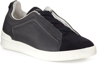 Ermenegildo Zegna Men's Couture Triple-Stitch Leather & Suede Low-Top Sneakers, Navy