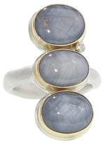 Jamie Joseph Triple Oval Grey Star Sapphire Ring with Diamond