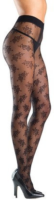 Be Wicked Women's Floral Designed Sheer Tights with Gusset