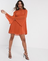 Asos Design DESIGN pleated trapeze mini dress with fluted sleeve in rust