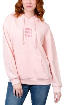Rebellious One Juniors' More Good Vibes Embroidered Hoodie