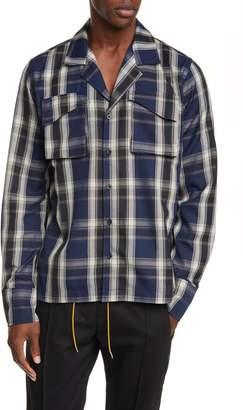 Rhude Plaid Button-Up Twill Overshirt