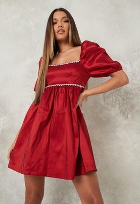 Missguided Red Diamante Trim Square Neck Smock Dress