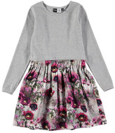Molo Credence Solid & Floral Dress, Gray/Pink, Size 2-12