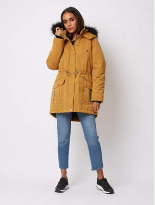 George Yellow Ochre Padded Faux Fur Lined Parka