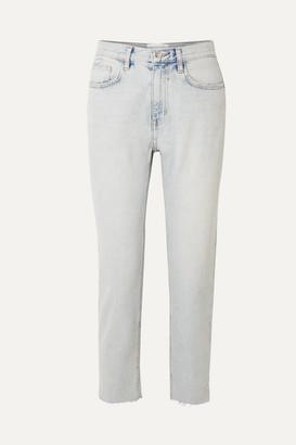 Current/Elliott The Vintage Cropped High-rise Straight-leg Jeans - Light denim