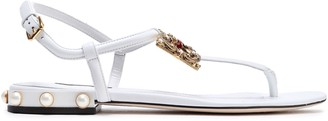Dolce & Gabbana Logo-embellished Leather Sandals