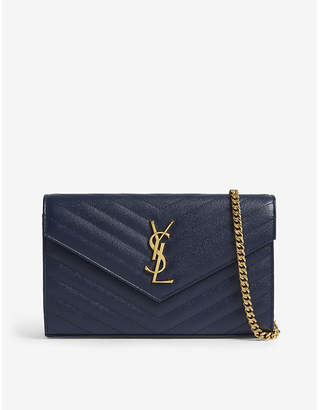 Saint Laurent Multi Purpose Ladies Dark Blue Quilted Wallet-On-Chain