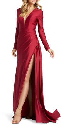 Mac Duggal Plunge Long Sleeve Satin Gown