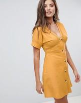 Asos Design DESIGN button through mini dress with lace inserts