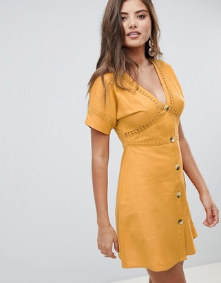 ASOS DESIGN button through mini dress with lace inserts
