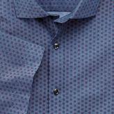 Charles Tyrwhitt Slim Fit Short Sleeve Chambray Geometric Print Cotton Casual Shirt Single Cuff Size Large