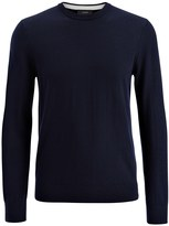 Merinos And Suede Patch Sweater In Navy