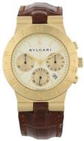 Bulgari Diagano CH35G 18K Yellow Gold & Leather Quartz 35mm Mens Watch