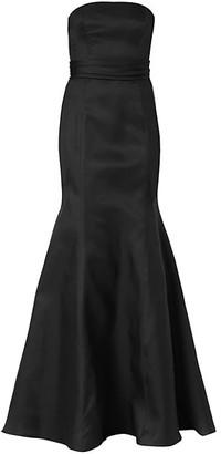 Carolina Herrera Icon Waist-Knot Silk Trumpet Gown