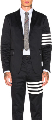 Thom Browne Cotton Twill 4 Bar Unconstructed Jacket in Navy | FWRD