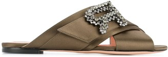 Rochas Crossover Strap Embellished Sandals