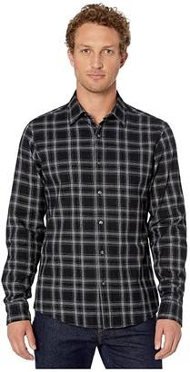Michael Kors Finn Long Sleeve Slim Fit Shirt (Black) Men's Clothing