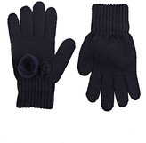 Catya Floral-Appliquéd Merino Wool Gloves-NAVY