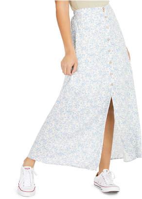BeBop Juniors' Floral-Print Button-Up Maxi Skirt