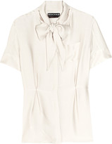 Pussy-bow silk-twill blouse