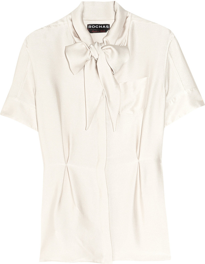 Rochas Pussy-bow silk-twill blouse