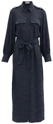 Cefinn Robyn Camouflage-jacquard Satin Shirt Dress - Navy