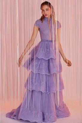 Tony Ward Tiered Cap Sleeve Gown