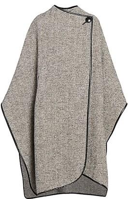 Isabel Marant Gomaha Wool Leather-Trim Cape