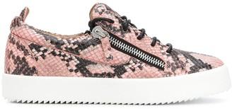 Giuseppe Zanotti Snakeskin Print Low Top Sneakers