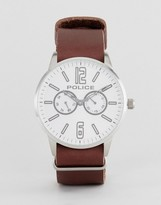Police Esquire Watch In Brown With White Dial