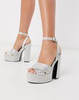 Asos Design DESIGN Novel embellished chunky platform heeled sandals in silver