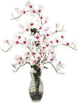 Bed Bath & Beyond Nearly Natural Dendrobium w/ Vase Silk Flower Arrangement in White