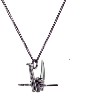 Origami Jewellery Mini Crane Necklace Gun Metal