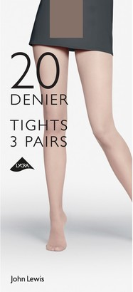 John Lewis & Partners 20 Denier Tights, Pack of 3