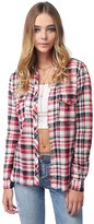 Awesome21 Long Sleeve Lightweight Plaid Button Down Shirt Red Size S