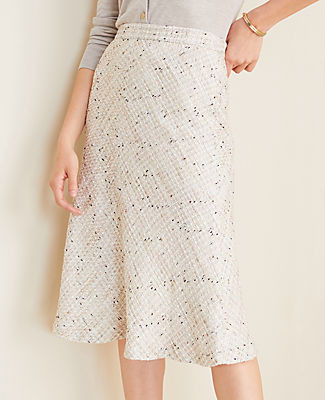 Ann Taylor Petite Tweed Full Midi Skirt