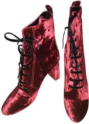 Saint Laurent Red Velvet Boots